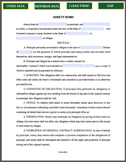 suretyship agreement template - sample surety bond free fillable pdf forms