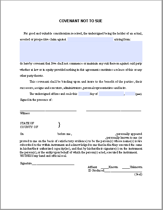 Covenant Not To Use Contract Template Free Fillable Pdf Forms