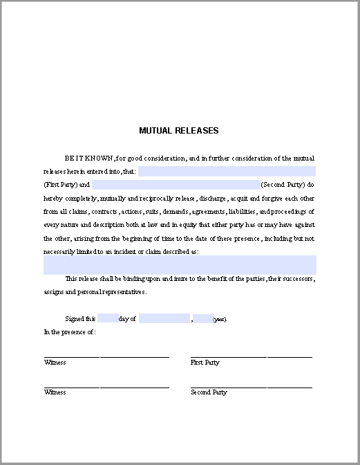 Mutual Releases Agreement Template Free Fillable Pdf Forms Free