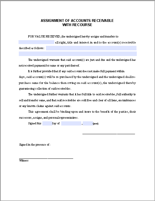 accounts receivable forms templates - assignment form of accounts receivable with recourse
