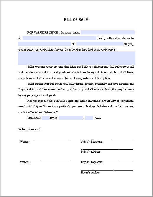 Bill of Sale Form - Free Fillable PDF Forms | Free Fillable PDF Forms