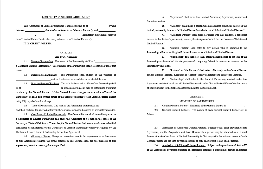 21 Free Partnership Agreement Templates Free Fillable Pdf Forms