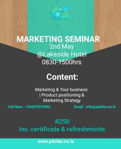 MARKETING SEMINAR @ Lakeside Hotel