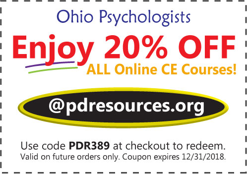 Ohio Psychologists Save 20% on CE