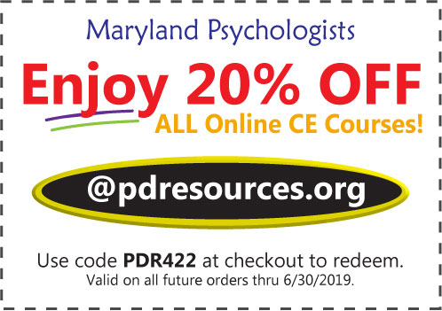 Maryland psychologists enjoy 20% off online CE courses @pdresources.org