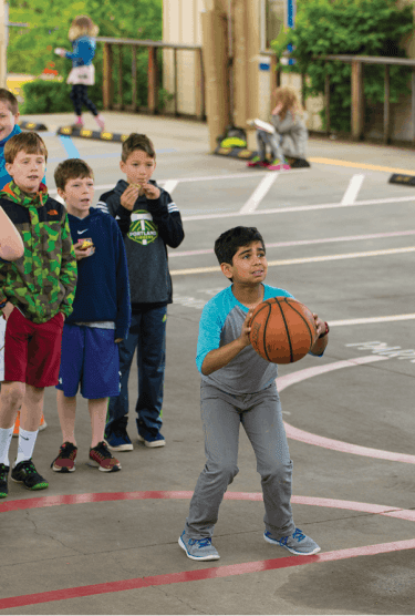 Recess is ... for taking your best shot, in front of a crowd.