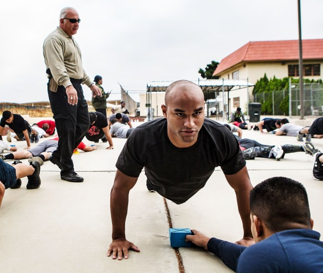 Applicants Do Push Ups As Sheriffs Investigator Nelson Guzman Left Gives Out Instructions During The Agility Test To Potentially Become New Riverside