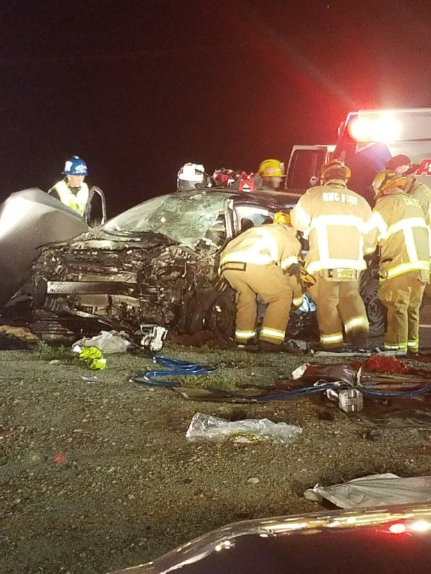 One person was killed and another seriously injured Sunday night in a head-on crash in the San Jacinto area on Sanderson Avenue north of Ramona Expressway, the Cal Fire/Riverside County Fire Department said.Photo courtesy Cal Fire/Riverside County