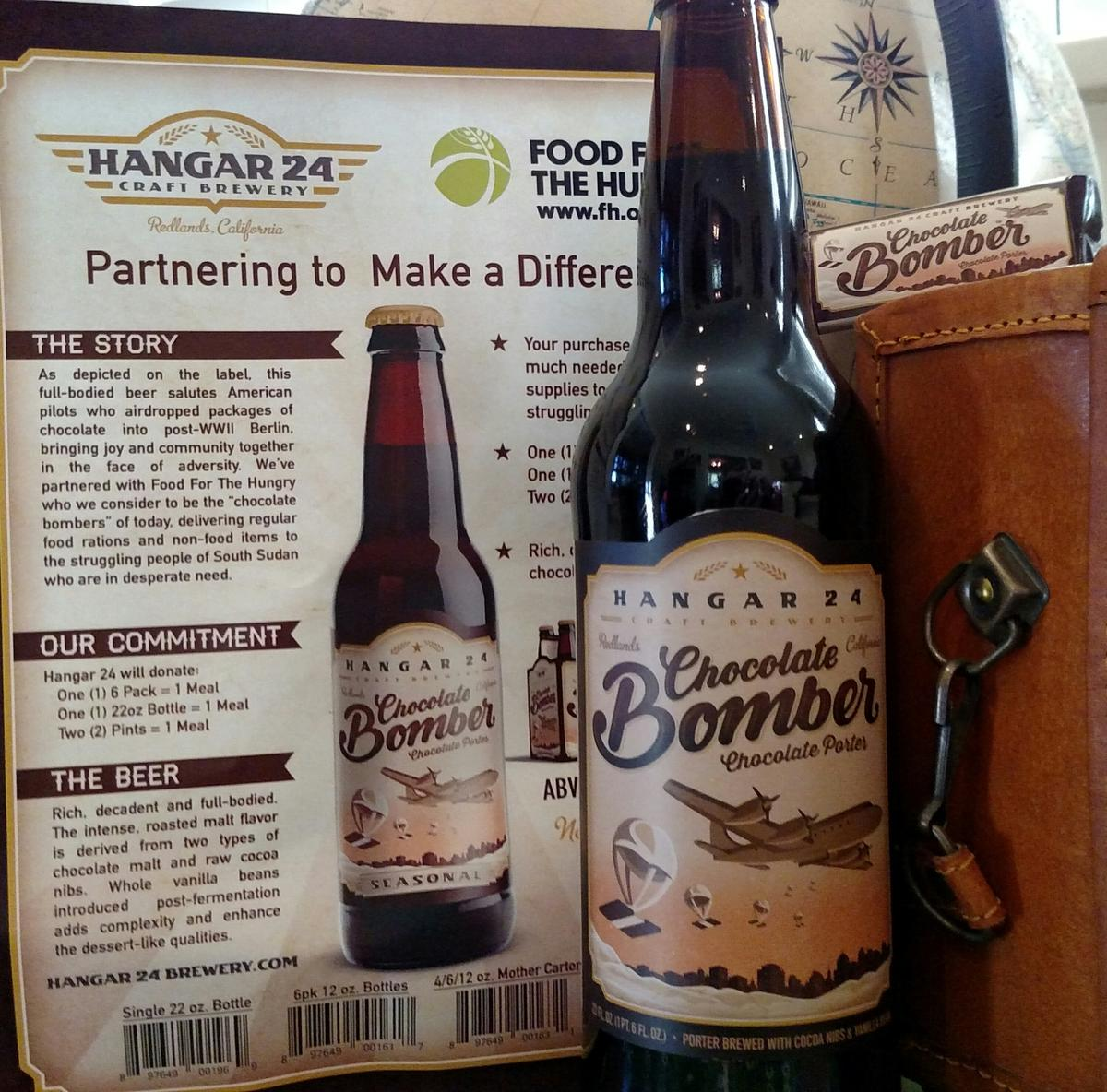 How Hangar 24 s Chocolate Bomber beer will help poverty stricken     A portion of the sales from Hangar 24 s winter release  Chocolate Bomber   will help an organization that provides food via air drop to  poverty stricken
