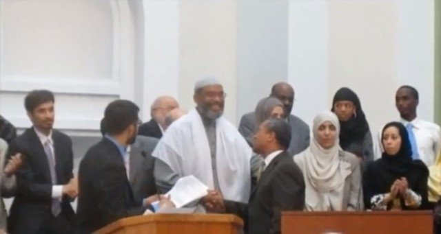 Abdullah Faarooq at the Islamic Society of Boston Cultural Center with Gov. of Massachusetts Deval Patrick (May 2010) Patrick recently disinvited Faarooq to speak at an interfaith event being held after the Boston bombings.