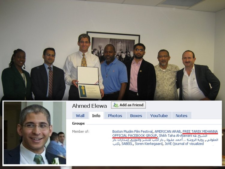 Prosecutor of Al Qaeda terrorist Tarek Mehanna giving certificate of appreciation to supporter of Al Qaeda terrorist Tarek Mehanna