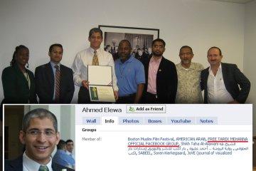 Prosecutor of Al Qaeda terrorist Tarek Mehanna giving certificate of appreciation to supporter of Al Qaeda terrorist Tarek Mehanna