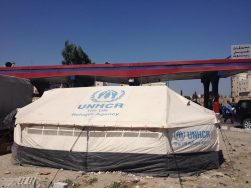 A refugee tent in Irbid.