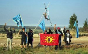 Land defenders assembled two tripods as a part of a overall work blockade at the site of the tar sands mine in the Book Cliffs of Utah.