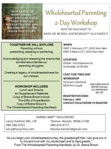 WHOLEHEARTED PARENTING WORKSHOP, February