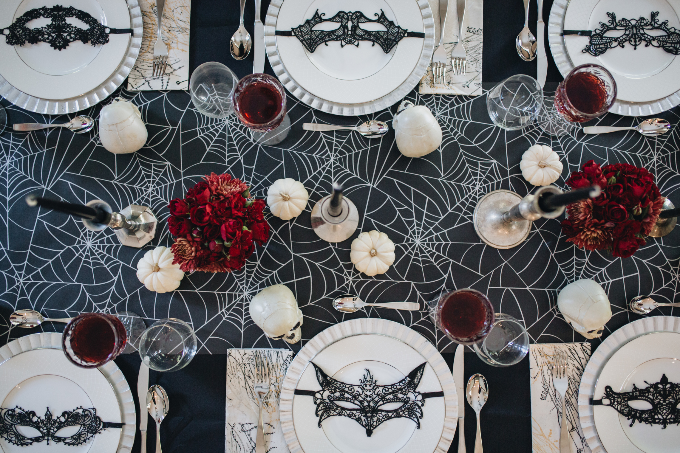 elegant black & red halloween tablescape | peachfully chic