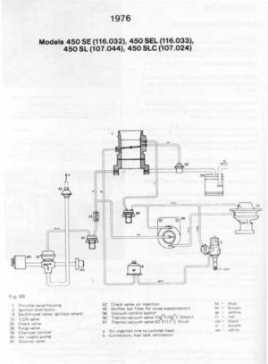 1976 450 sl vacuum line diagram  PeachParts MercedesBenz