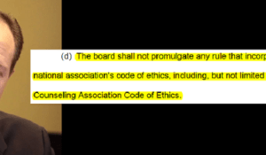Sen Jack Johnson proposed SB1 to target the American Counseling Association for ethics standards