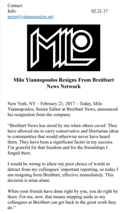 Milo Yiannopoulos resignation statement
