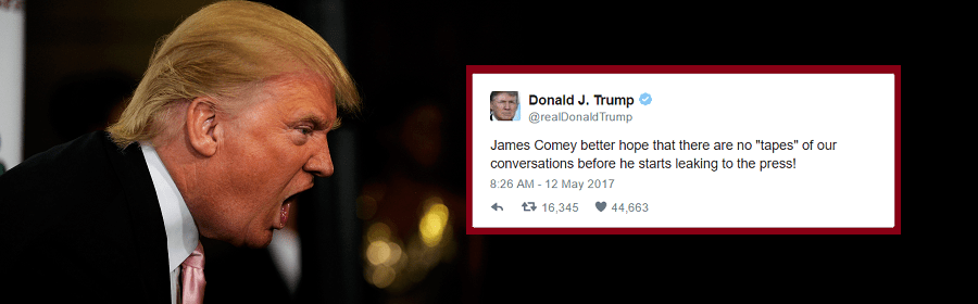 "Donald Trump threatened James Comey on Twitter with ""tapes"""