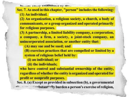 A highlighted section of the Indiana Religious Freedom Restoration Act, Section 7 of the bill. (