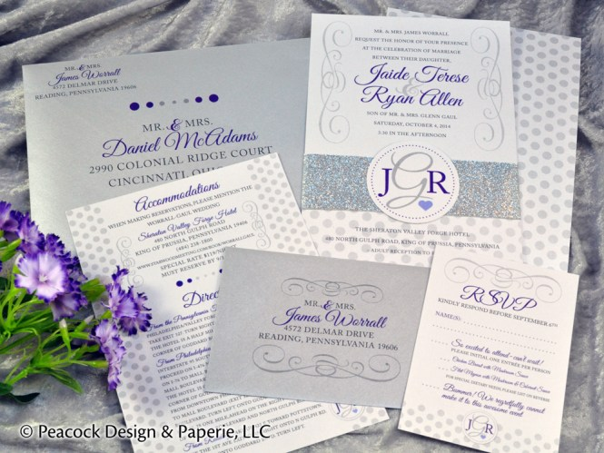Sparkling Events Designs Purple Watercolor Laser Cut Wedding Invitation 2