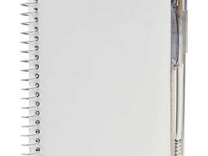 a white notebook with a white pen on a white background