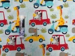 giraffes, zebras, and hippos driving cars on a white background