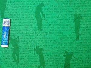 silhouette of a golfer on a green background with golf-related text