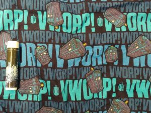 fabric with TARDIS image and vworp! text
