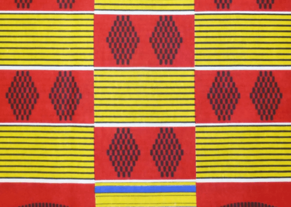 blocks of red with black patterns and blocks of yellow with black stripes in a checkerboard pattern