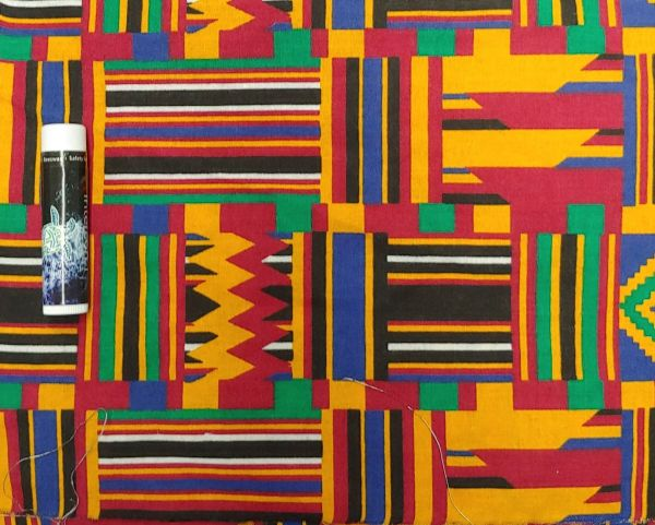 red, yellow, black, and green kente cloth printed pattern