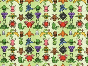 fabric with adorable chibi creatures