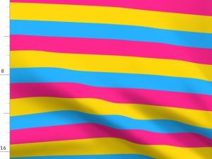 pansexual pride flag fabric, with alternating stripes of pink, yellow, and light blue