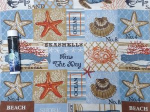 beach themed images and text, including starfish and seashells