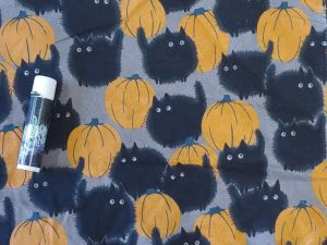 fluffy black cat and pumpkins on a gray background