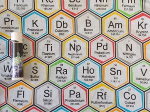 elements and their periodic table data in a hexagonal grid