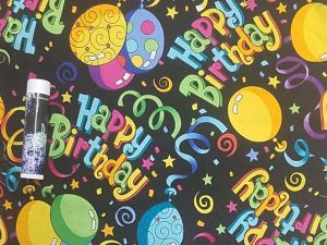 """multicolored """"Happy Birthday"""" text, ribbons, and balloons on a black background"""