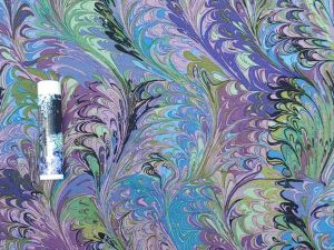 purple, green, and blue marbling print