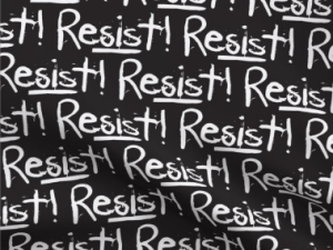 """""""Resist!"""" text in white on a black background"""