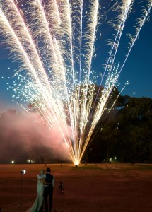Bride and Groom watch a spectacular firework display at their wedding