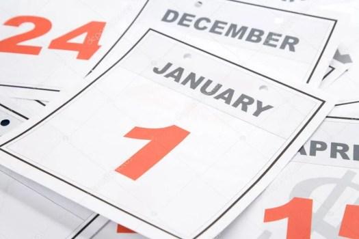 Calendar showing January 1st