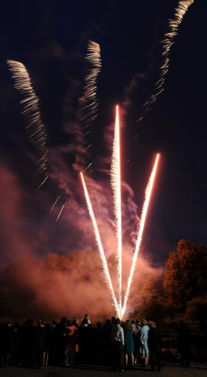 Wedding fireworks with guests