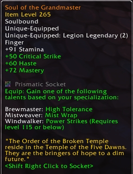 Soul of the Grandmaster's new tooltip