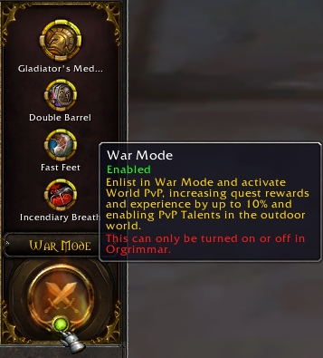 The new War Mode interface and toggle in the talents menu
