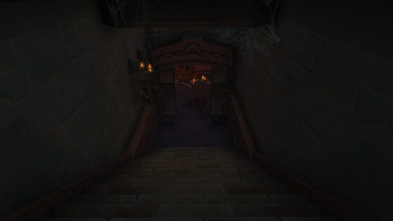 An entrance to the cellar in Waycrest Manor
