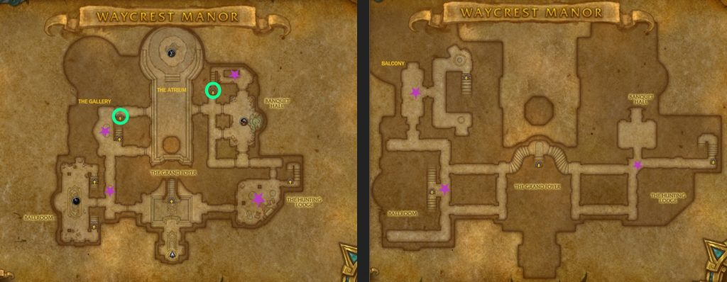 A marked map of Waycrest Manor