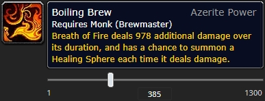 The tooltip of the azerite trait Boiling Brew at item level 385