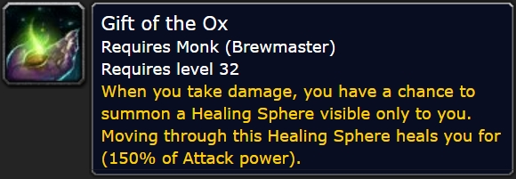 The tooltip for Brewmaster's Gift of the Ox passive