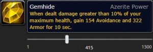 The tooltip of the azerite trait Gemhide at item level 415.